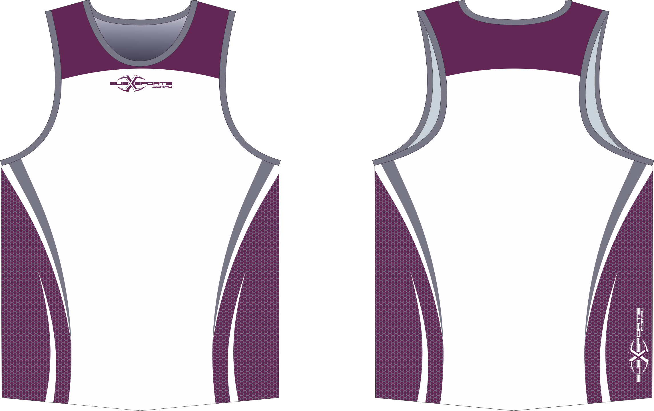 X302XS Singlet Maroon White Grey.png