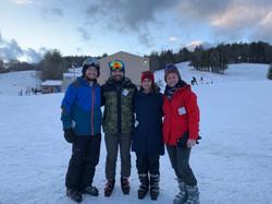 Lab members skiing