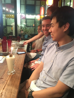 Lab members celebrate Qiyu's birthday at Hojok