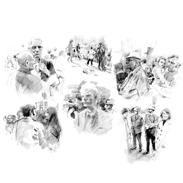 Protest demonstration drawings
