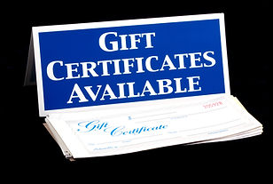 Gift Certificates Available Sign and Cer