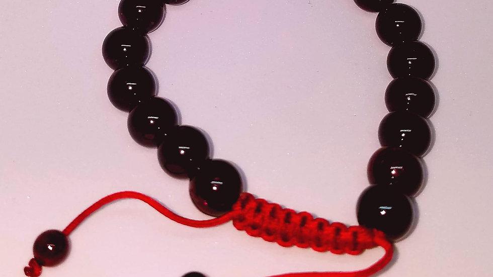 Rhodolite Garnet Polished Gemstone Mala Bracelet
