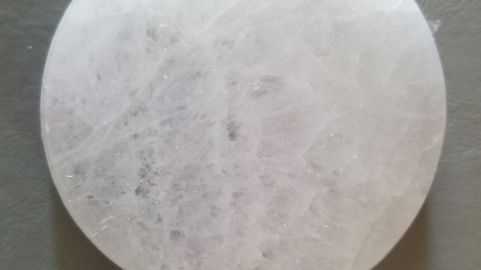 Selenite Round Charging Station and clearing Plate