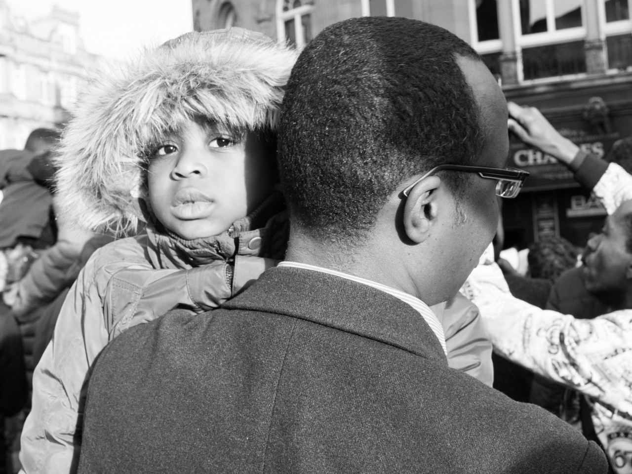 Eye contact at #sudan-revolts Protest in Newcastle Upon Tyne Street photography
