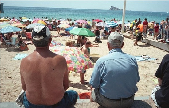 Tourists on beach in Benidorm, Connor Guy, 2018