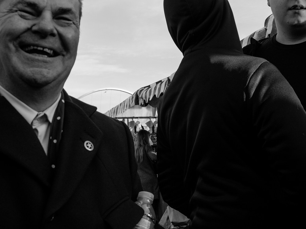 "Bloke at the quayside market loving the attention. ""He just took my photo!"" he laugh to his mate just out of frame."