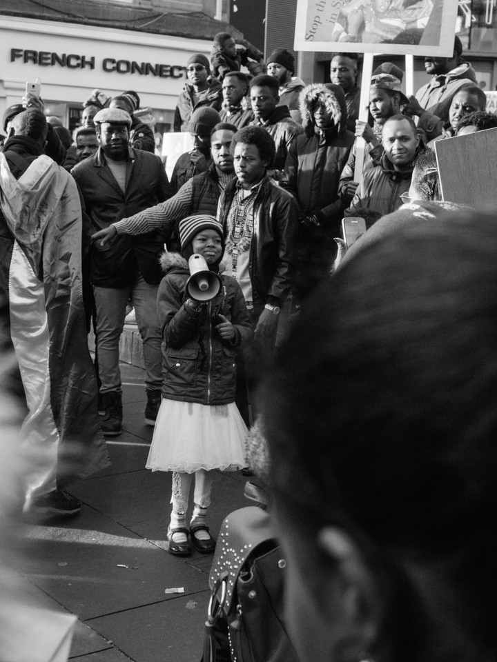 Young girl on megaphone   at #sudan-revolts Newcastle Upon Tyne Street Photography