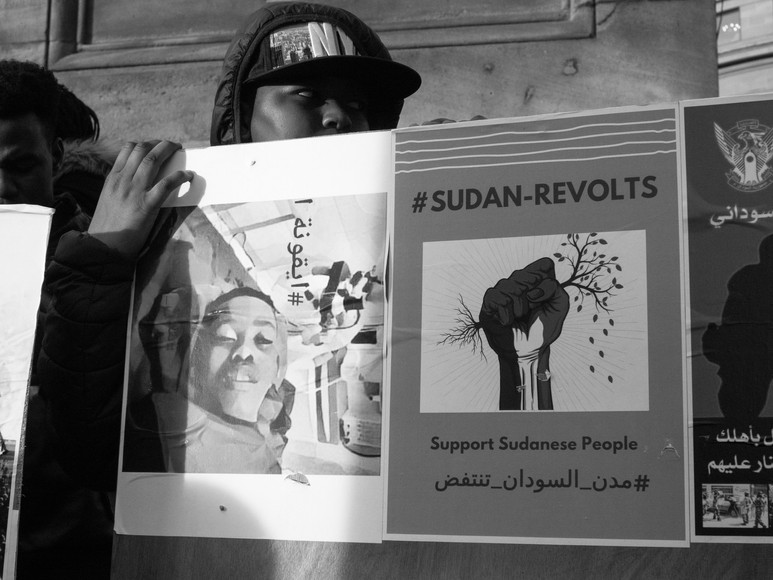 Child's poster at#sudan-revolts Newcastle Upon Tyne Street Photography