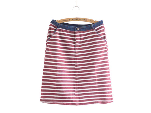 Wild Striped Cotton Denim Skirt | buonamoda