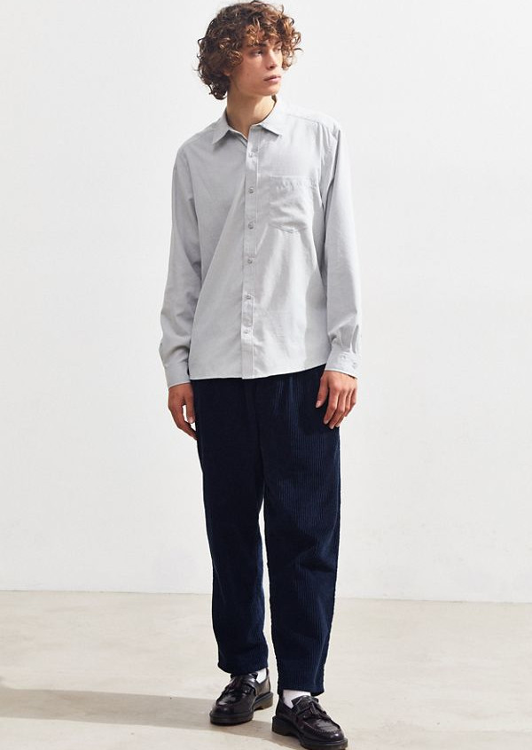 Gray/white Silky button up available at UO for $39.99 (Originally $54.00)