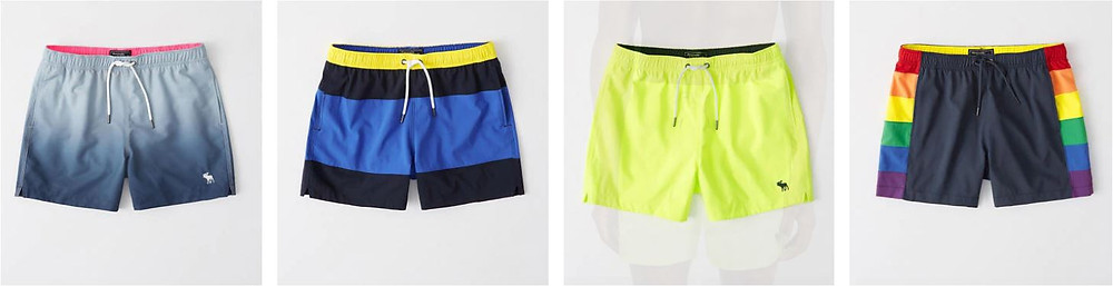 Blue and yellow swimming trunks