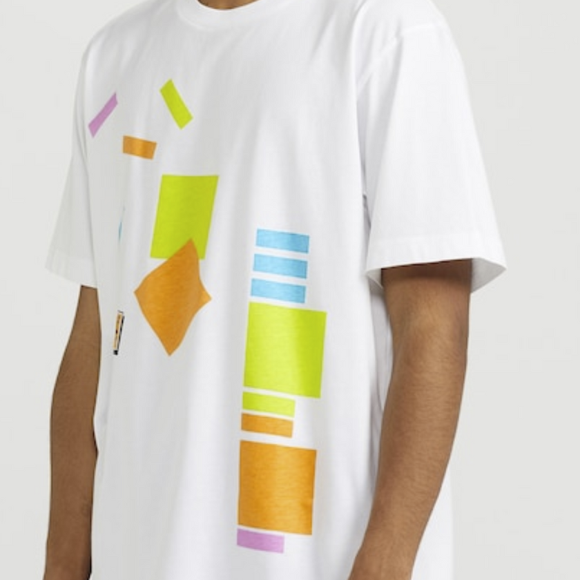 Graphic t-shirt with sticky notes on it