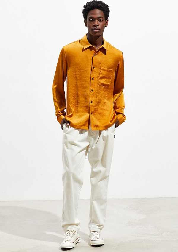 Yellow ochre silky button up available at UO for $59.00