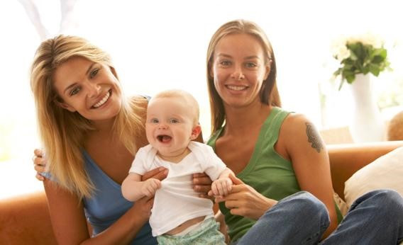 Lesbian parents with baby