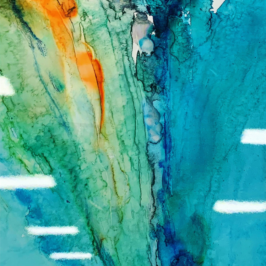 Teal and orange glossy abstract painting/artwork