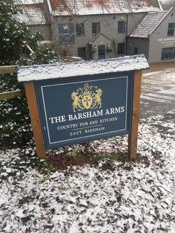 The Barsham Arms Sign In Snow