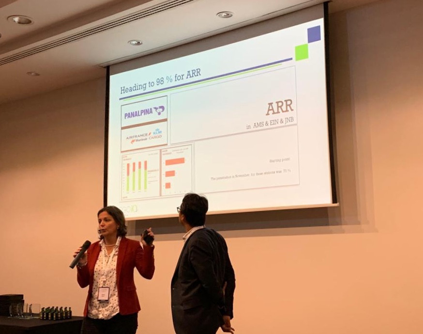 Marie Seco, Corporate Air Freight Systems and Processes Integration Manager at Panalpina, and Bram Snel, Operations Research Consultant at Air France KLM Martinair Cargo, at the latest Q Rally