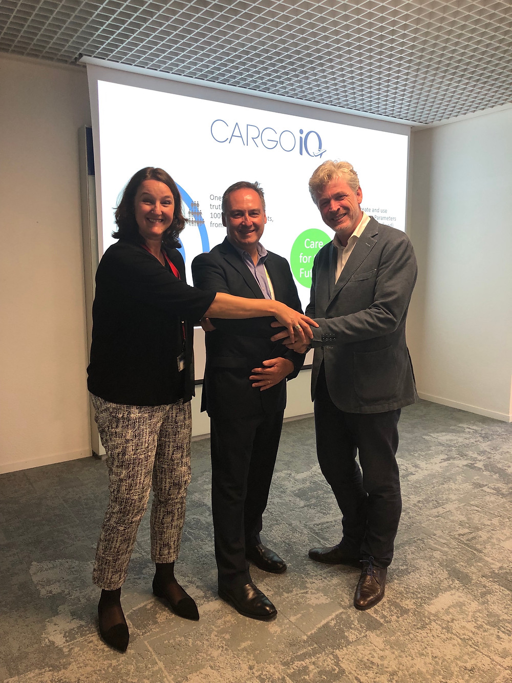From left to right, Kerstin Strauss, VP Air Logistics Operations, Global Airfreight, Kuehne + Nagel; Scott McCorquodale, Chief Automation Officer, Air Cargo, WiseTech Global; Ariaen Zimmerman, Executive Director, Cargo iQ.