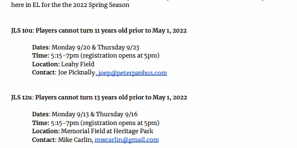 2021 Fall Baseball Evaluations