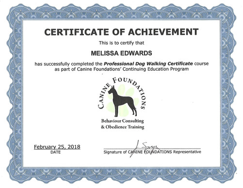 canine foundations professional dog walker certif.