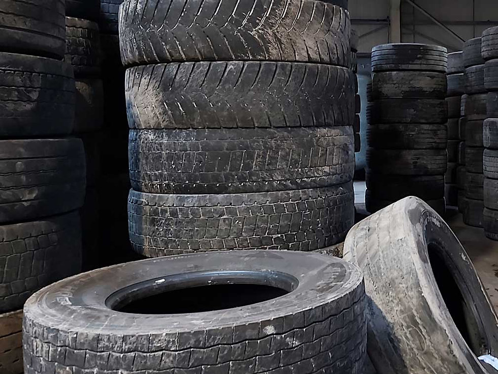 Stack of used lorry tyre casings