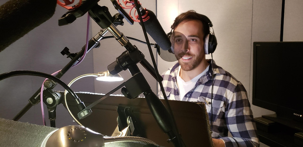 In the Voiceover Booth recording the Radio Commercial for AFCU