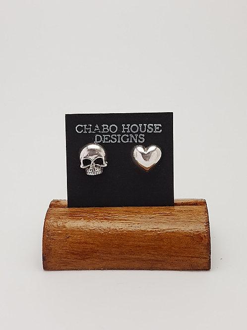 Heart and Skull Earrings