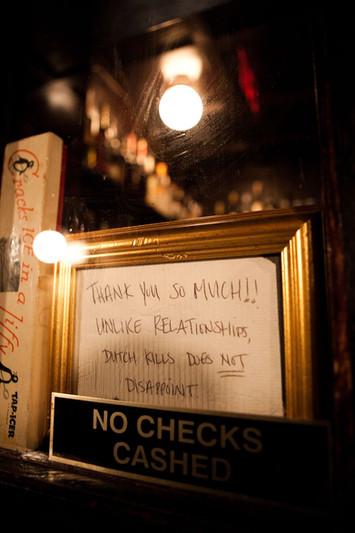 A handwritten note from a Dutch Kills patron, circa 2009-2010.  Photo credit: Isaac Rosenthal