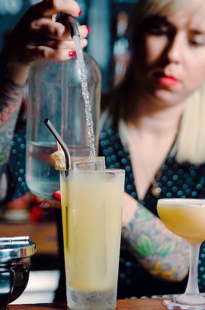 """The Presbyterian  .5 oz. Fresh lime juice .75 oz. House-made ginger syrup 2 oz. Rye whiskey Seltzer  (adapted from """"What'll you Have?"""" A Not Too Dry textbook about Cocktails, by Julien J. Proskauer, 1933)  Photo credit: Natalie Jacob"""