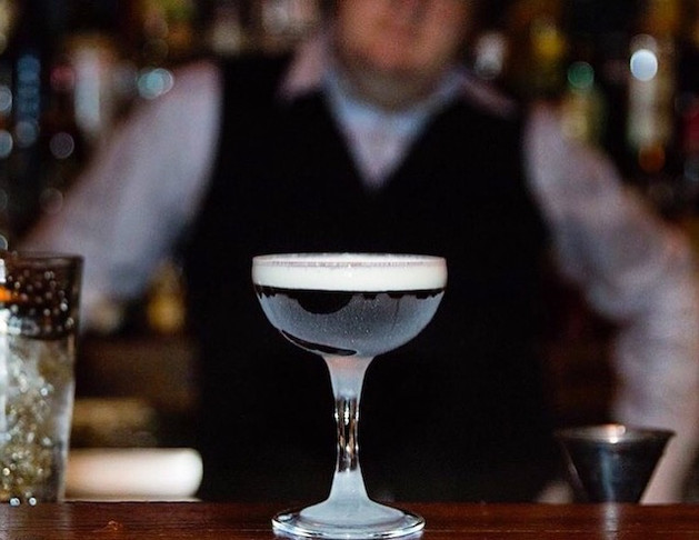 The Dominicana, prepared and served by Chris McLeod at Dutch Kills:  1.5 oz. Añejo Rum 1.5 oz. Coffee Liquer Sweet whipped cream  Stir with ice, and strain into a chilled coupe. Float cream.  (Sasha Petraske, Milk & Honey NYC, 2000)  Photo credit: Natalie Jacob