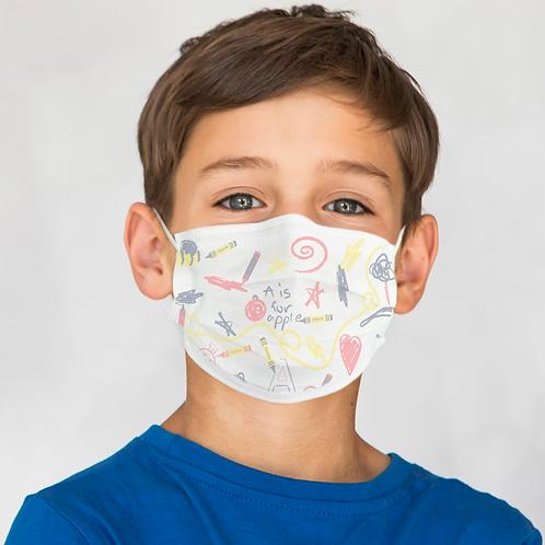 ProKids Pediatric Mask - Crayon Print Earloop - Case of 750