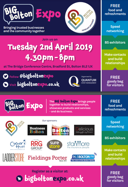 We'll be at the Big Bolton Expo - Tuesday 2nd April 2019