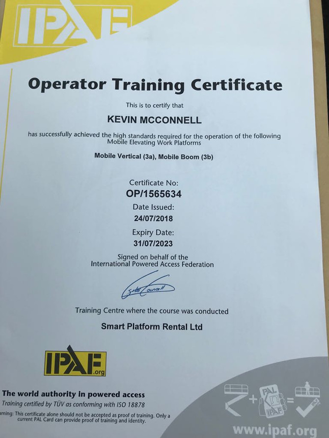 We're now IPAF Certified!