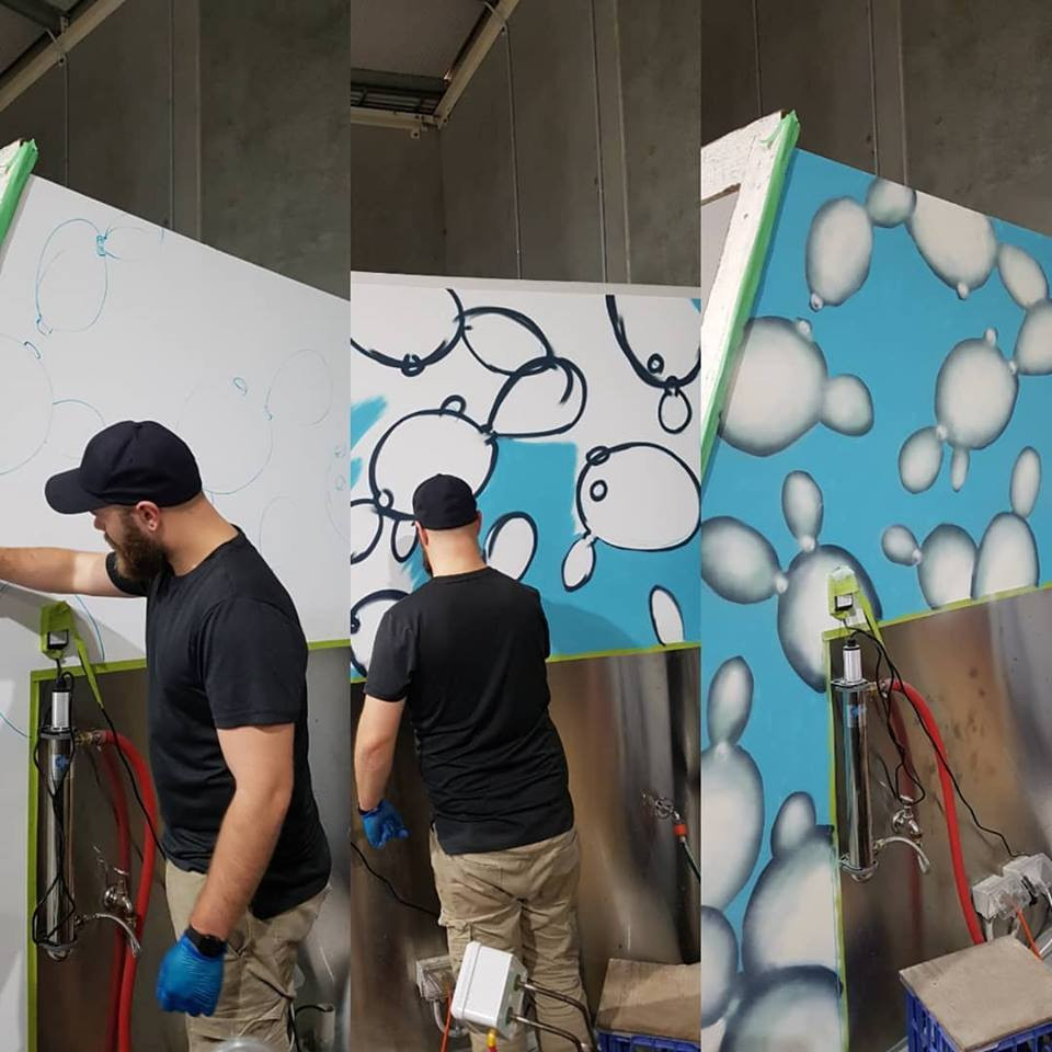 Painting the walls in the Taproom