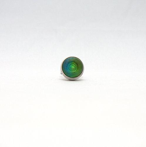 pression avec cabochon vert et bleu translucide
