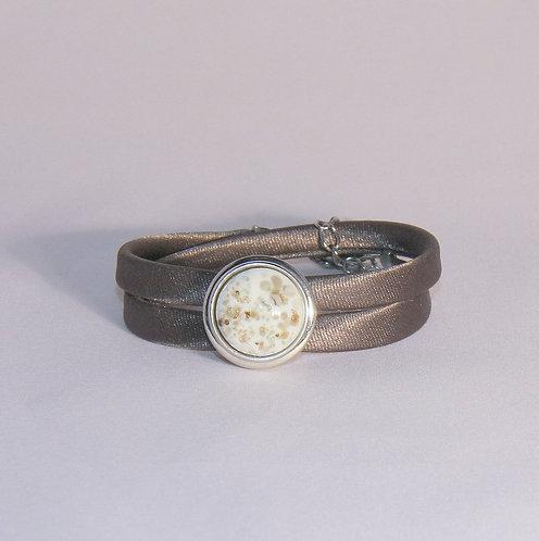 bracelet double tour avec base pour pression avec cabochon