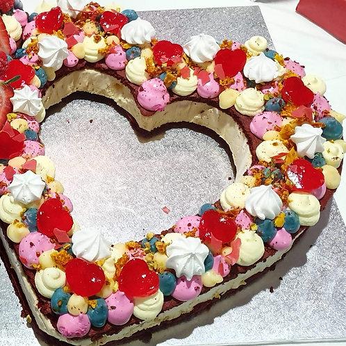 Ruby Chocolate Love Heart Ice Cream Sandwich Cake