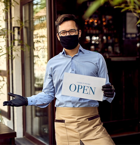 Happy%20waiter%20holding%20OPEN%20sign%2