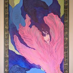 Neon Pink Flower Blue