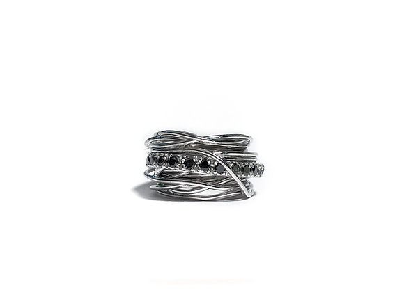 Multi-strand ring with black diamonds