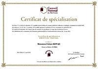 Certificat de spécialisation en droit du travail