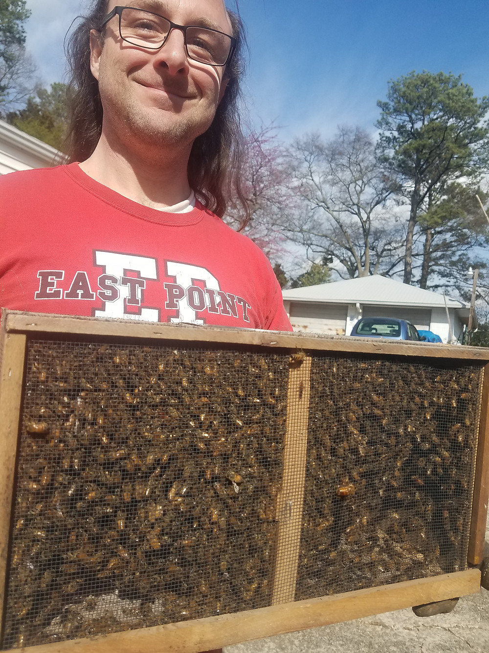 Jason and a new 3 lb. package of bees