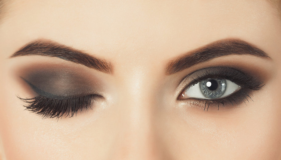 Beautiful woman with long eyelashes and