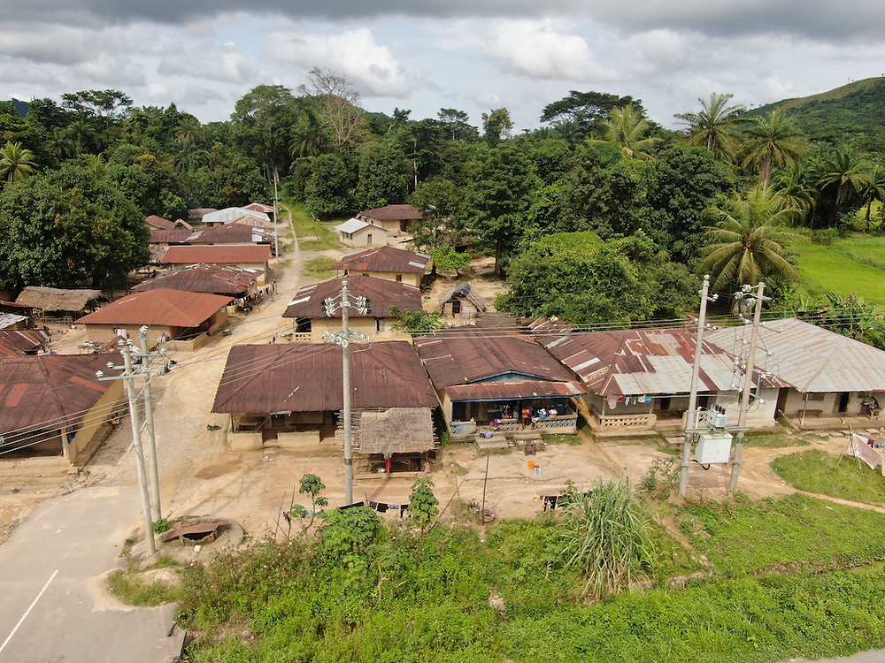 Drone image shows the top of several one story buildings with metal roofs, electric poles, and tropical trees.