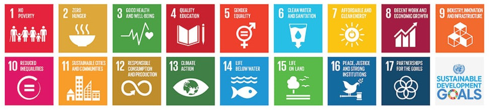 Logo for the SDGs depicting the 17 goals in colored grids with logos related to the SDG.