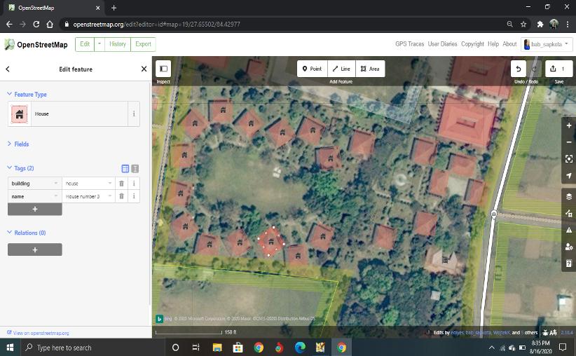 Editing on OSM through iD editor