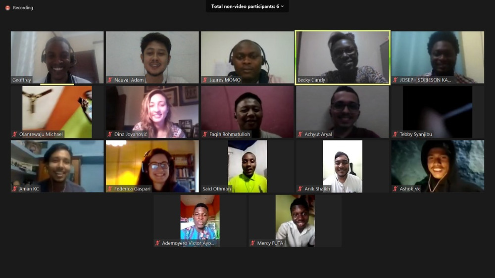 Screenshot of Zoom call with 17 videos showing a diverse group with males and females.