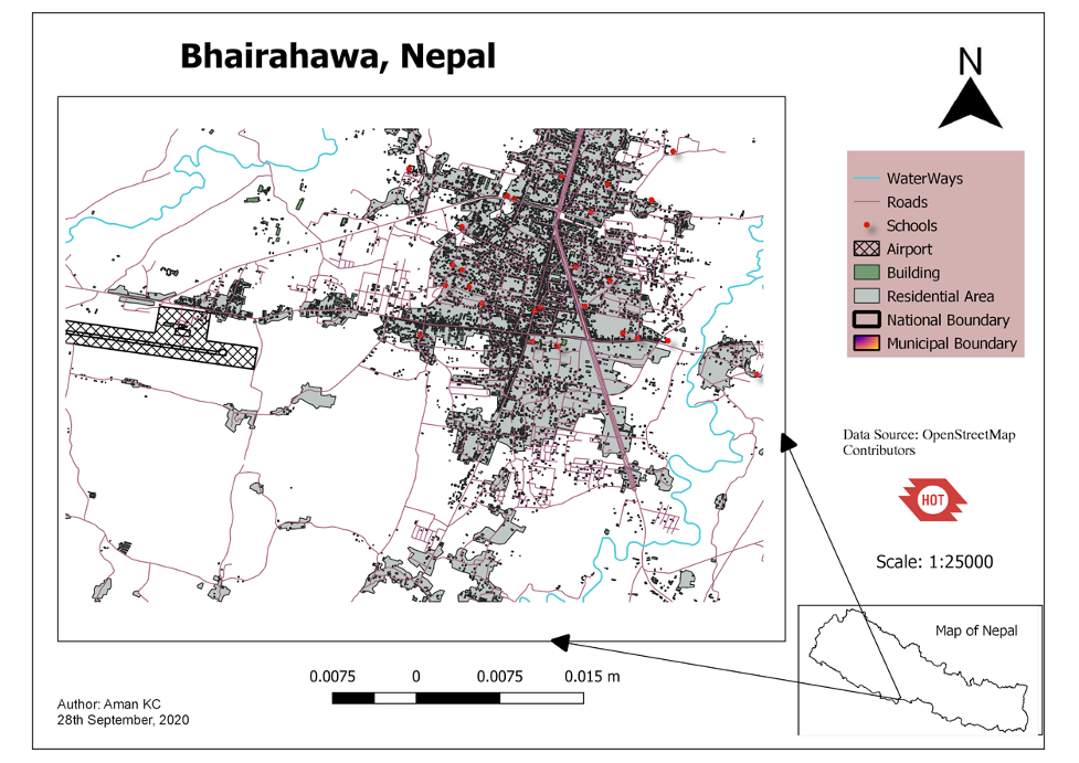 Map of Bhairahawa, Nepal. The map shows a two waterways in blue on the outskirts of the city. There are many roads in purple. Several red dots depict schools. There is one airport shown in grid lines outside the city. The residential areas are gray and take up the majority of the map.