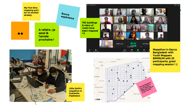 Collage of three images. Screenshot from group Zoom call with 22 cameras showing. Image from tasking manger showing uncompleted tasks. Photo in classroom with 7 people (male and female) looking at their computers. Around the collage are colorful post it notes with positive quotes from the event.