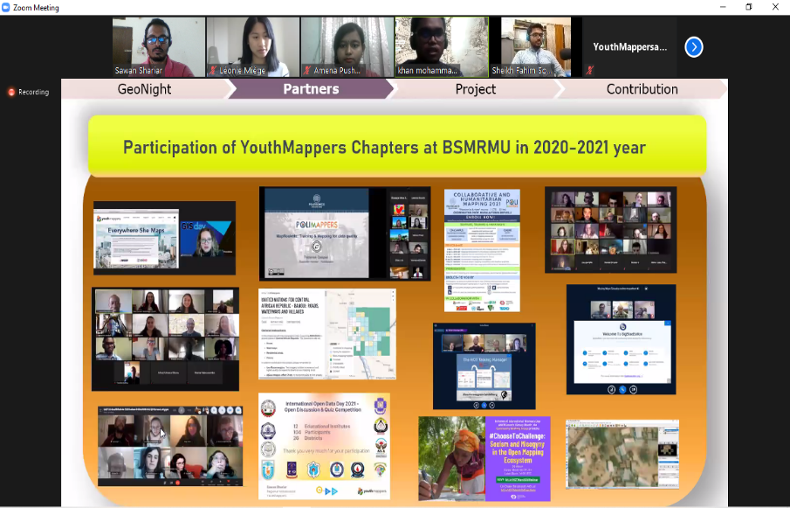 """Screenshot of orange slide with several photos below with the words """"Participation of YouthMappers Chapter at BSMRMU in 2020-2021 year."""" 6 videos appear above the slide."""